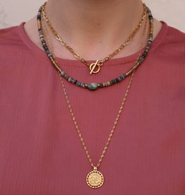 2 The Moon 'n Back Necklace Big Short Chain Gold