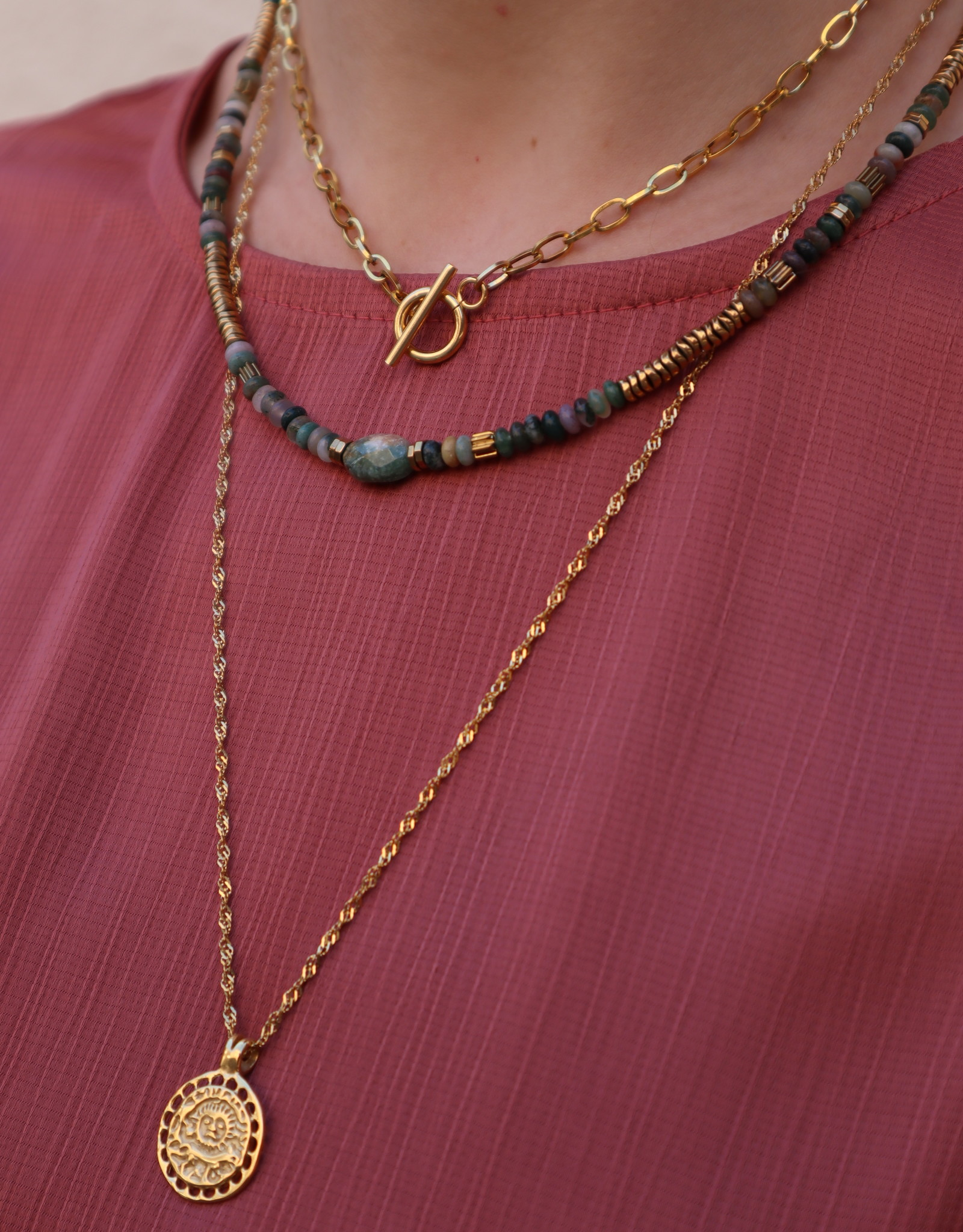 2 The Moon 'n Back 2 The Moon 'n Back Necklace Big Short Chain Gold