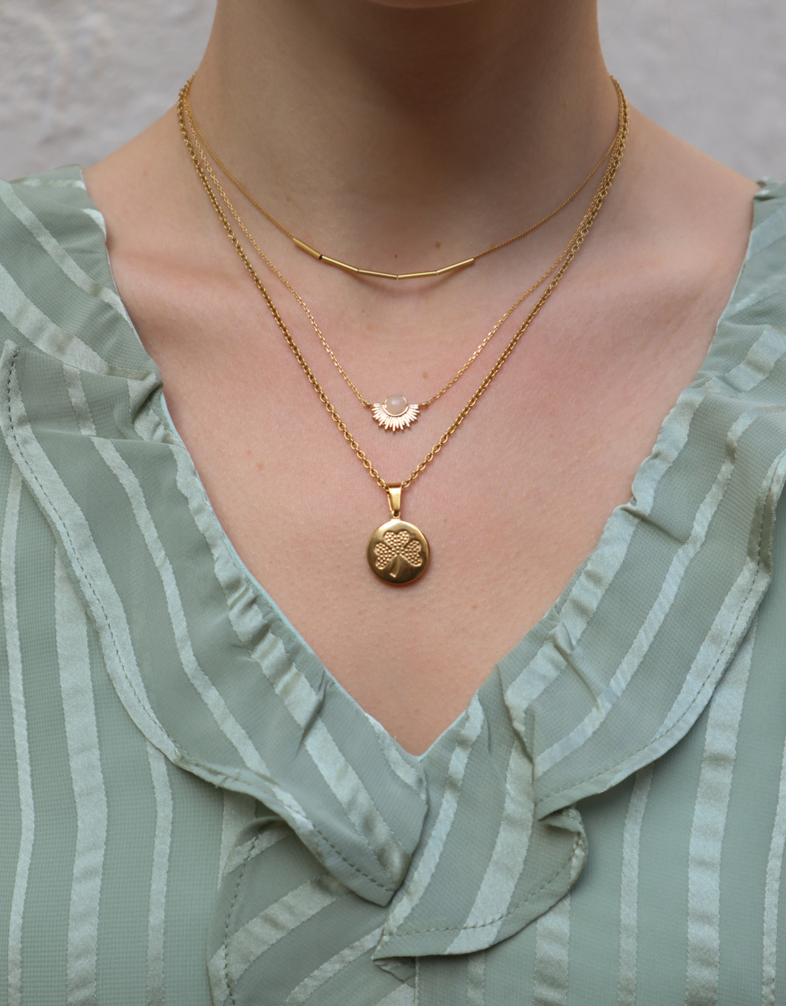 2 The Moon 'n Back 2 The Moon 'n Back Necklace Gold Good Luck