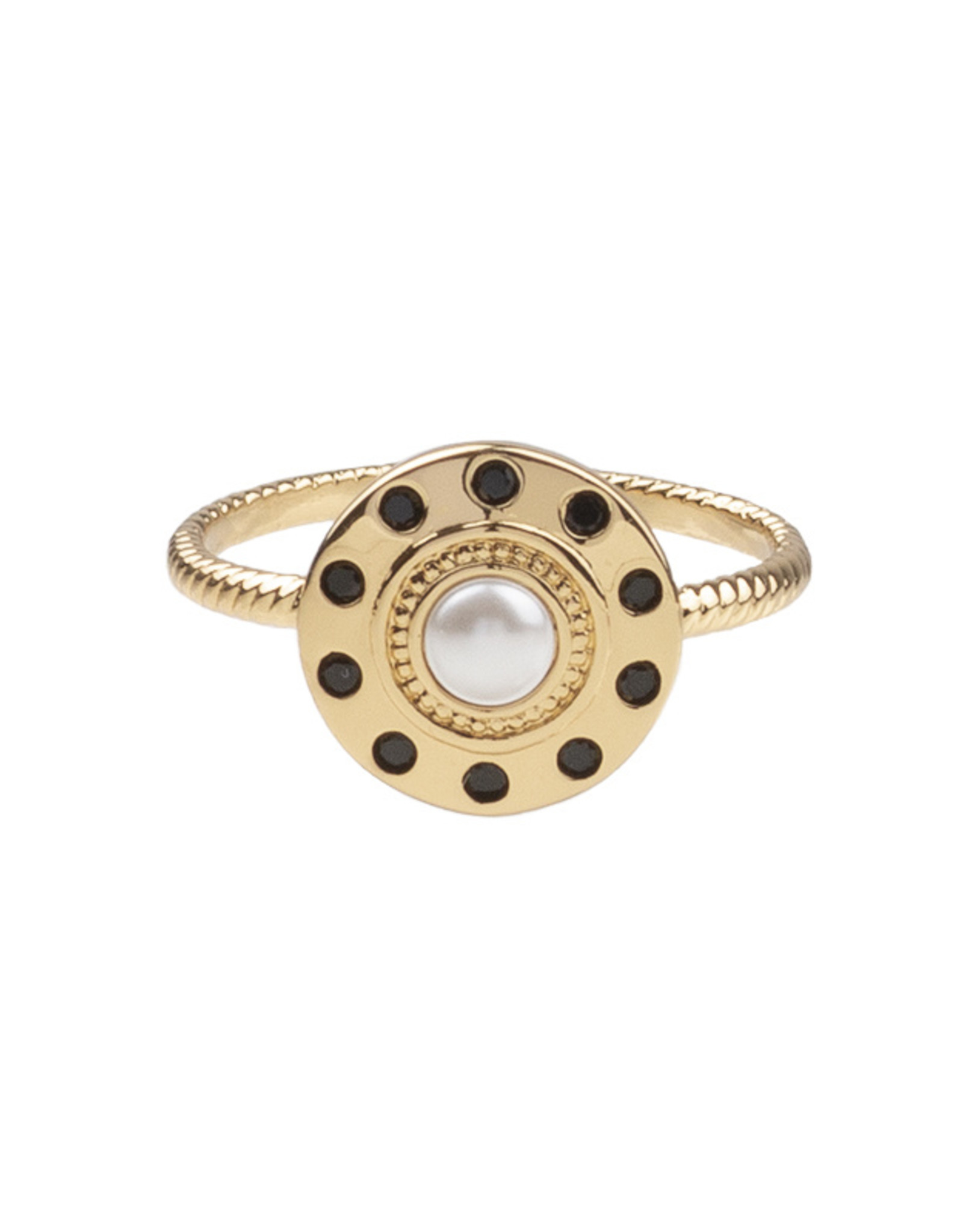 All the Luck in the World All the Luck in the World Ring Cherie Circle Pearl Black Gold