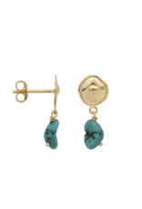 Anna+Nina Anna+Nina- Single Earring Turquoise Spy Stud (Per stuk)