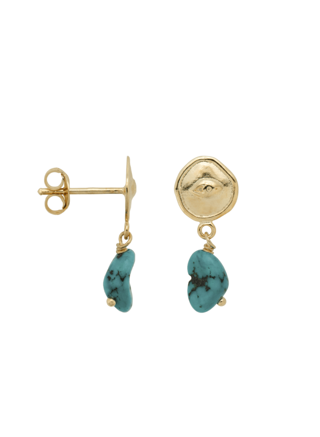 Anna+Nina- Single Earring Turquoise Spy Stud (Per stuk)