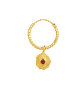 Taj TAJ-Single Twisted Garnet Earring Nephele (Per stuk)