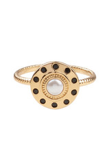 All the Luck in the World ATL- Ring Cherie Circle Pearl Black Gold