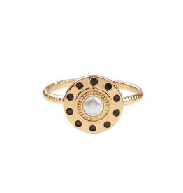 All the Luck in the World All the Luck in the World - Ring Cherie Circle Pearl Black Gold