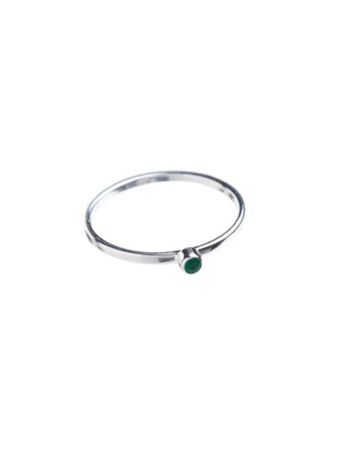 NOS-Xzota-Ring Small Green Onyx Silver