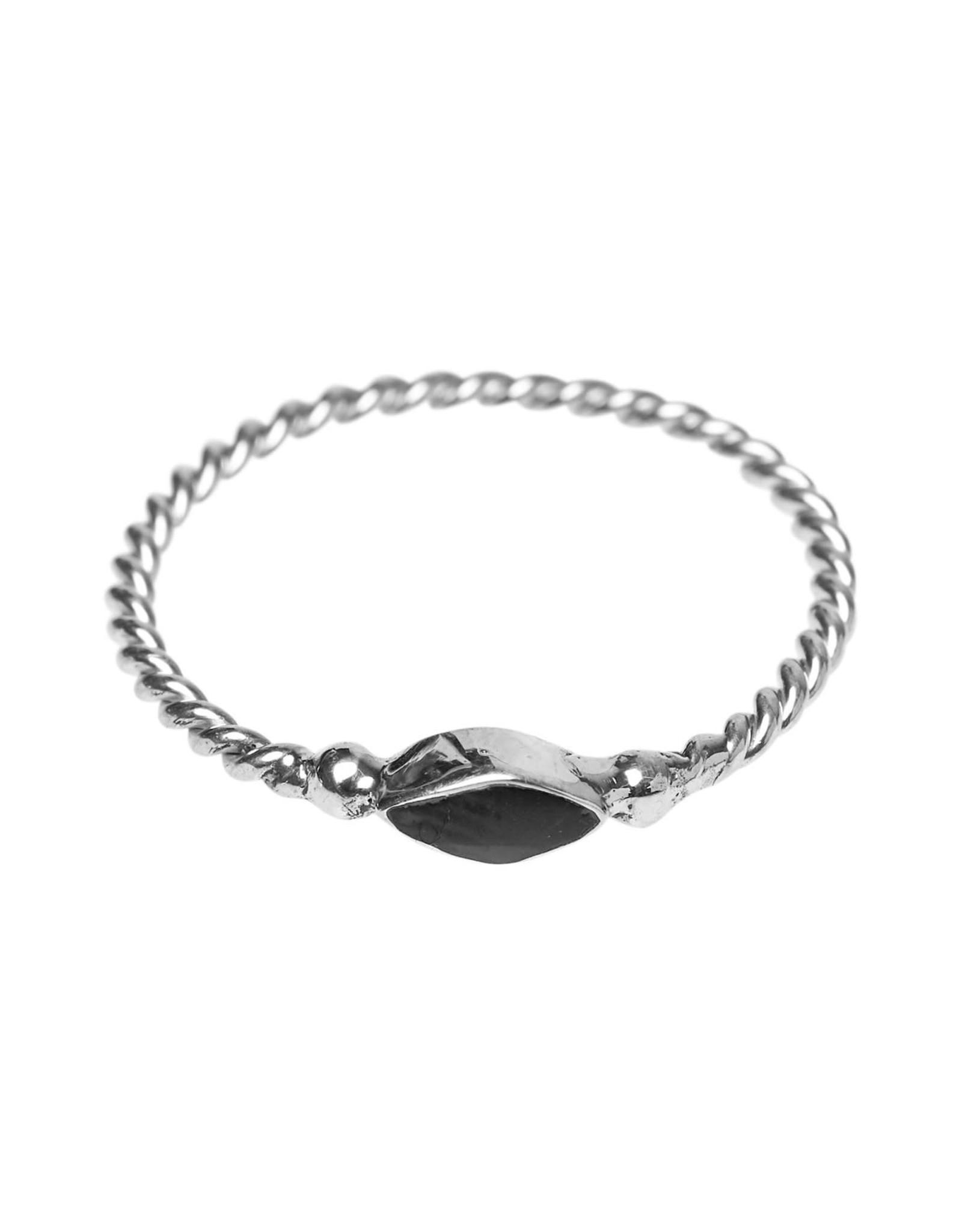 Xzota Xzota- Ring Twisted Eye Silver Resin Black  Silver