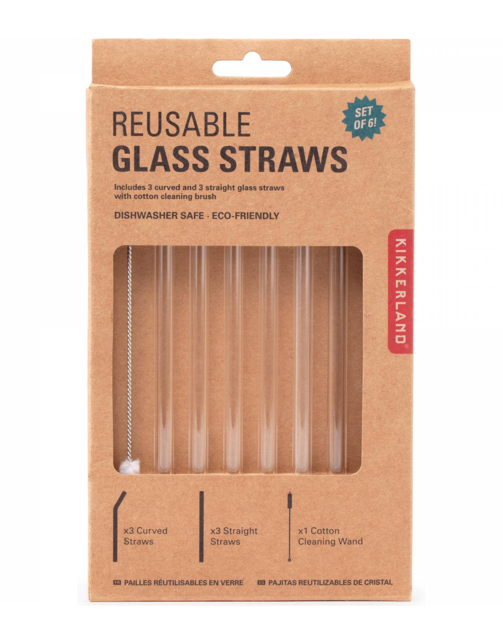 Kikkerland KL-Clear Glass Straws S/6