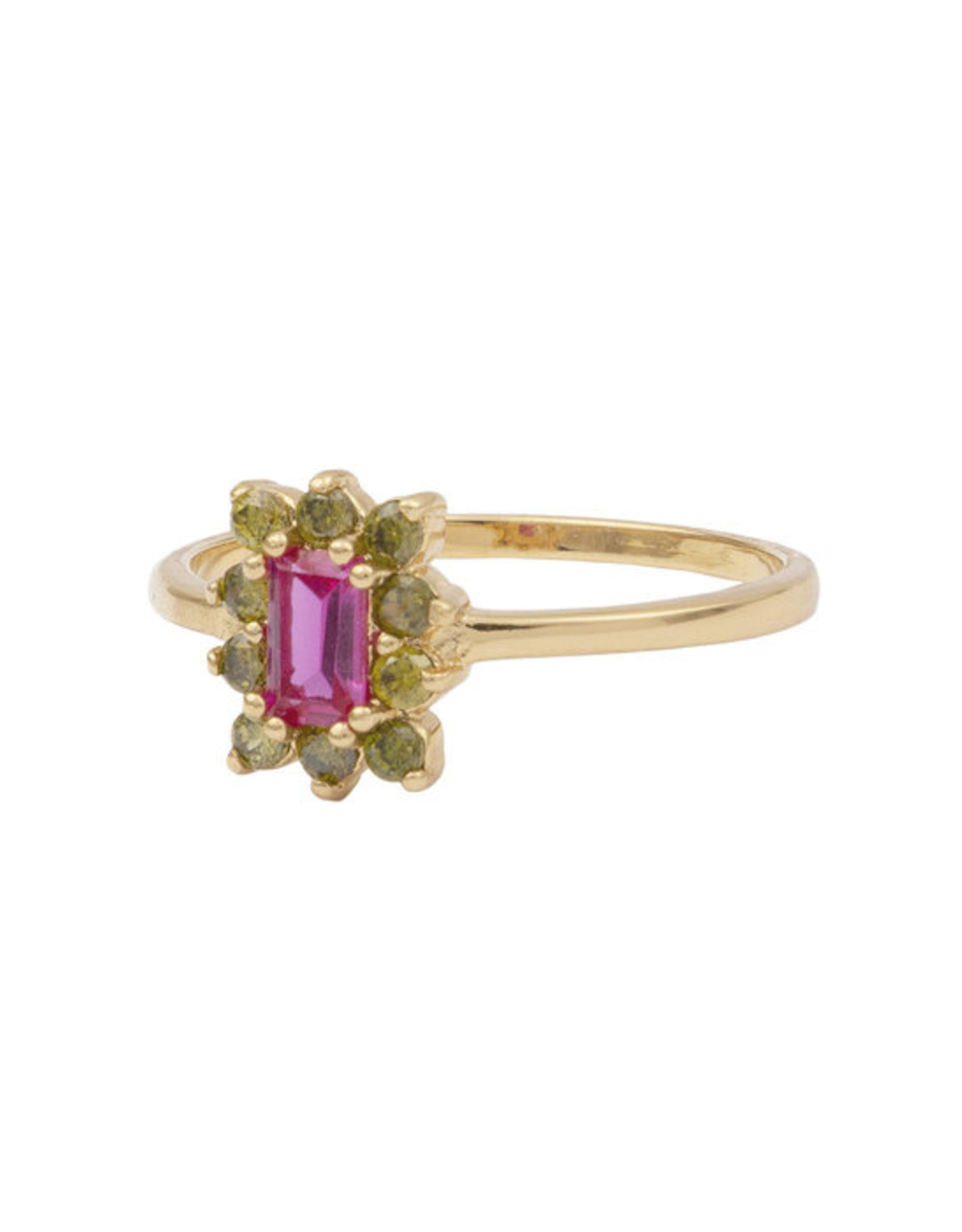All the Luck in the World ATL-Ring Chérie Rectangle Flower Pink