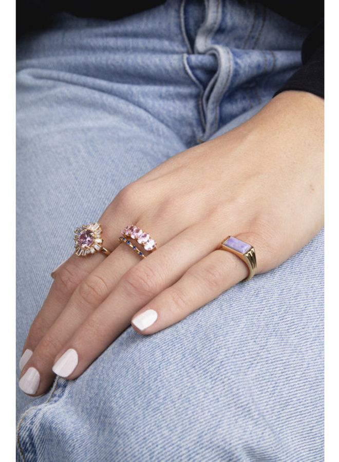 All the Luck in the World - Ring Cherie Rectangle Marble Lilac Gold