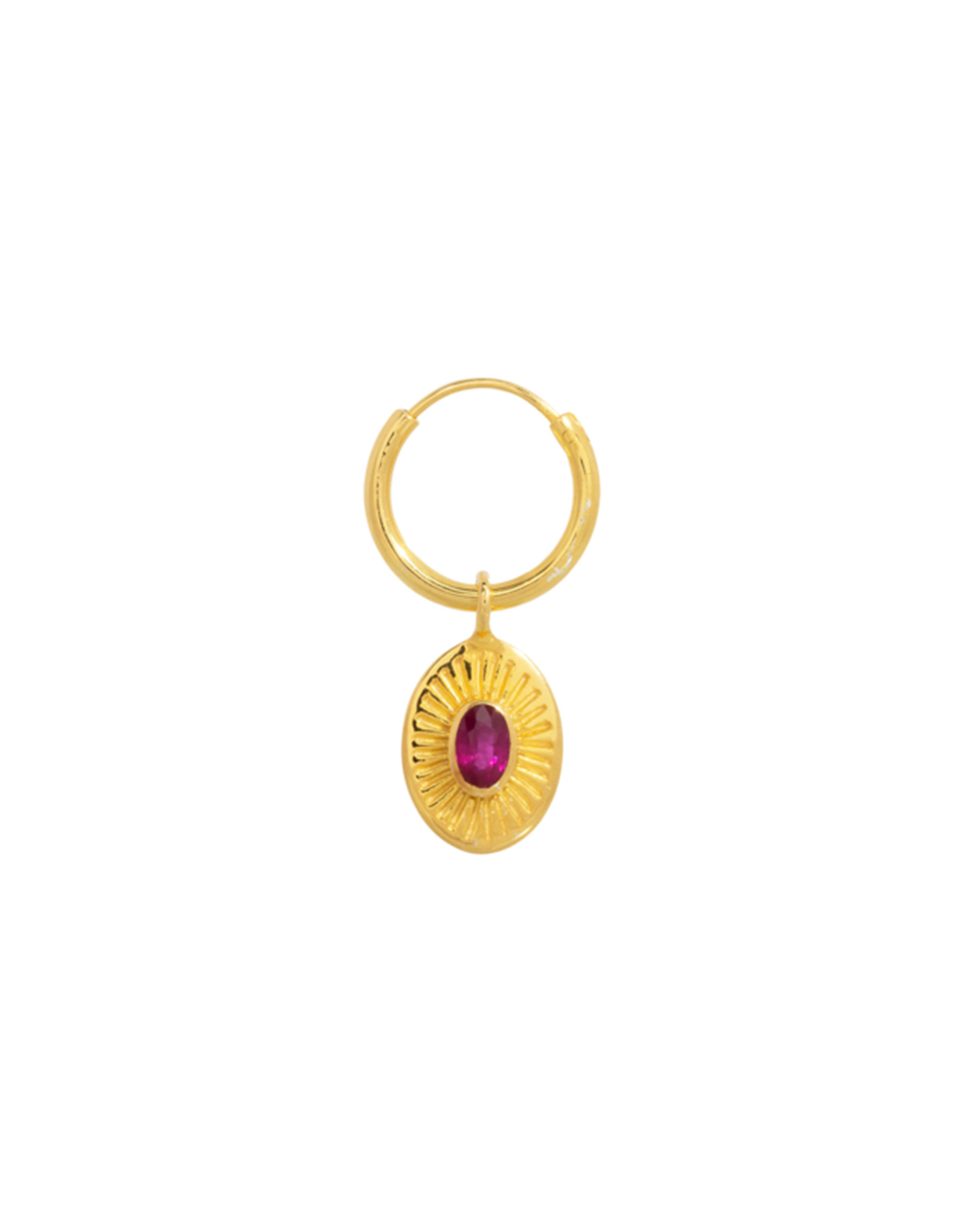 Taj TAJ-Single Pink Ruby Earring Demeter (Per stuk)