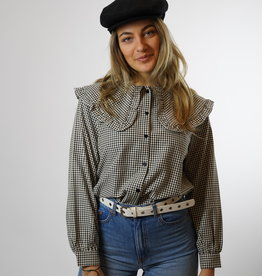 Make My Day Make My Day Fancy Collar Blouse Check