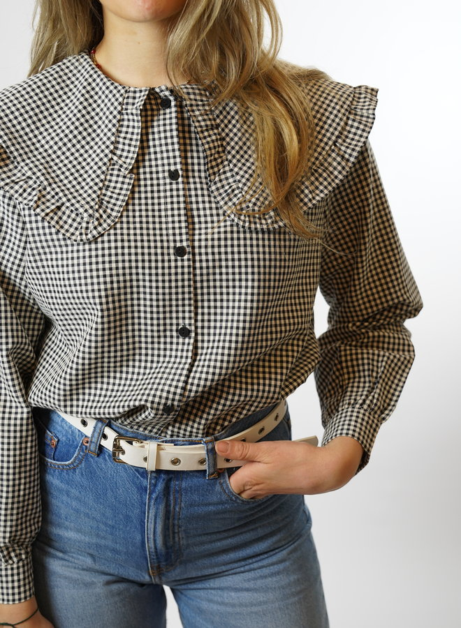 Make My Day Fancy Collar Blouse Check