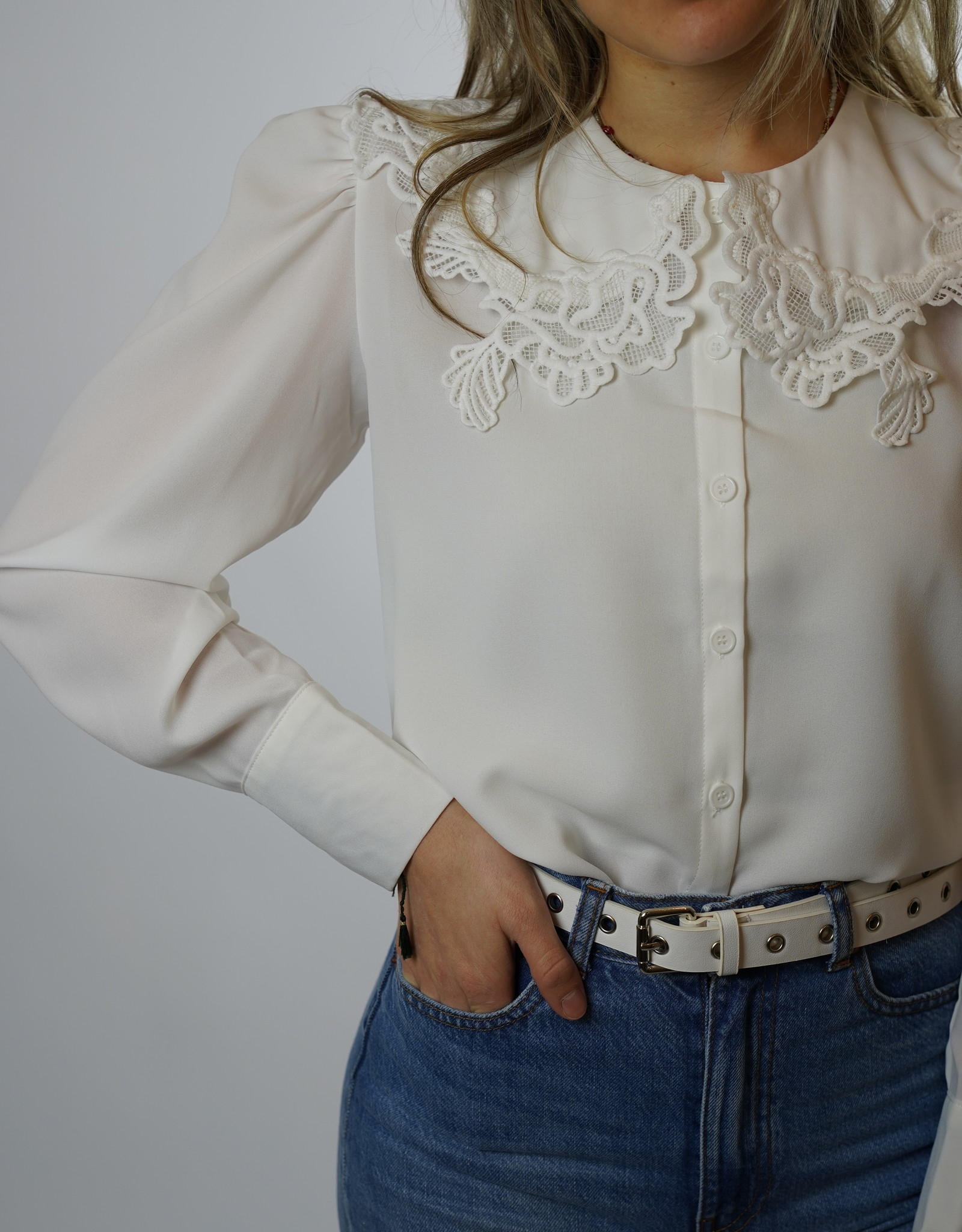 Make My Day Make My Day Fancy Collar Blouse Lace
