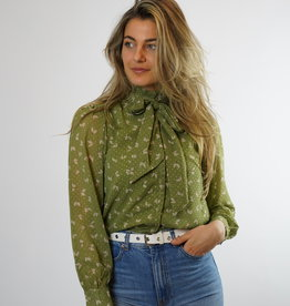 Make My Day Make My Day High Neck Blouse Ruffle Print