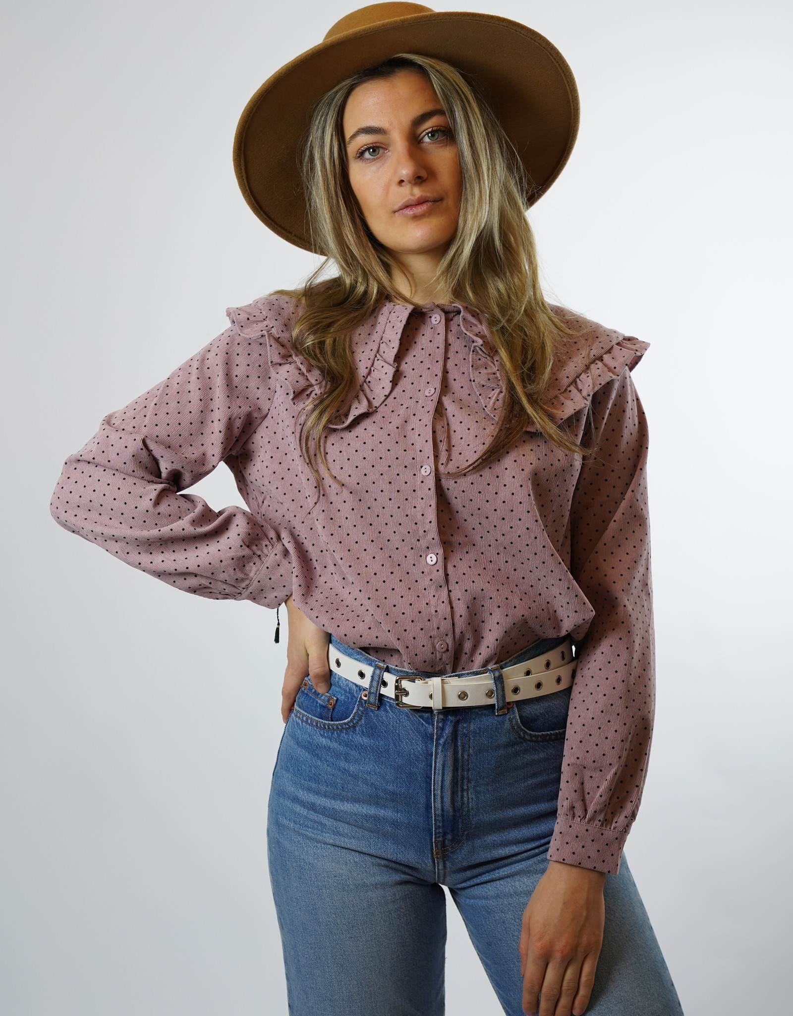 Make My Day Make My Day - Fancy Collar Shirt Cord Pink