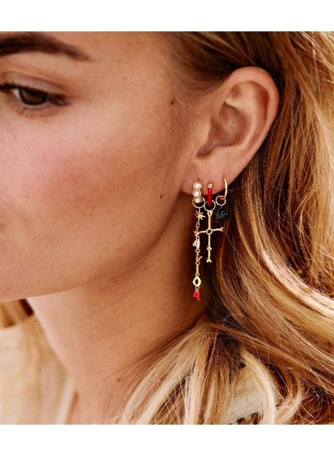 Anna + Nina Enamel Deep Red Earring