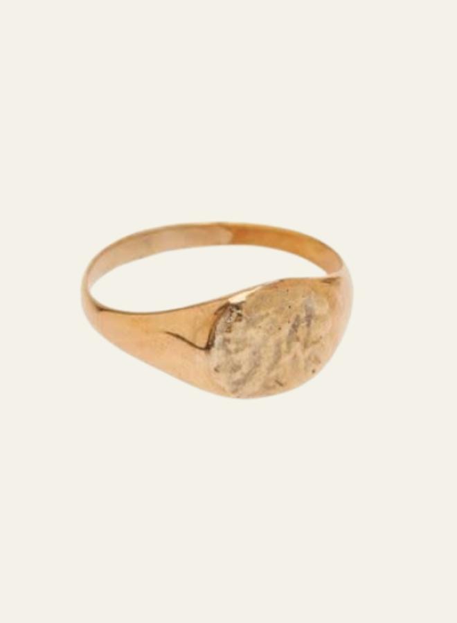 Xzota Ring Signet Hammered Round