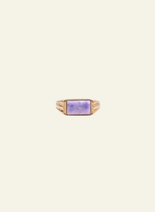 All the Luck in the World  Ring Cherie Rectangle Marble Lilac Gold