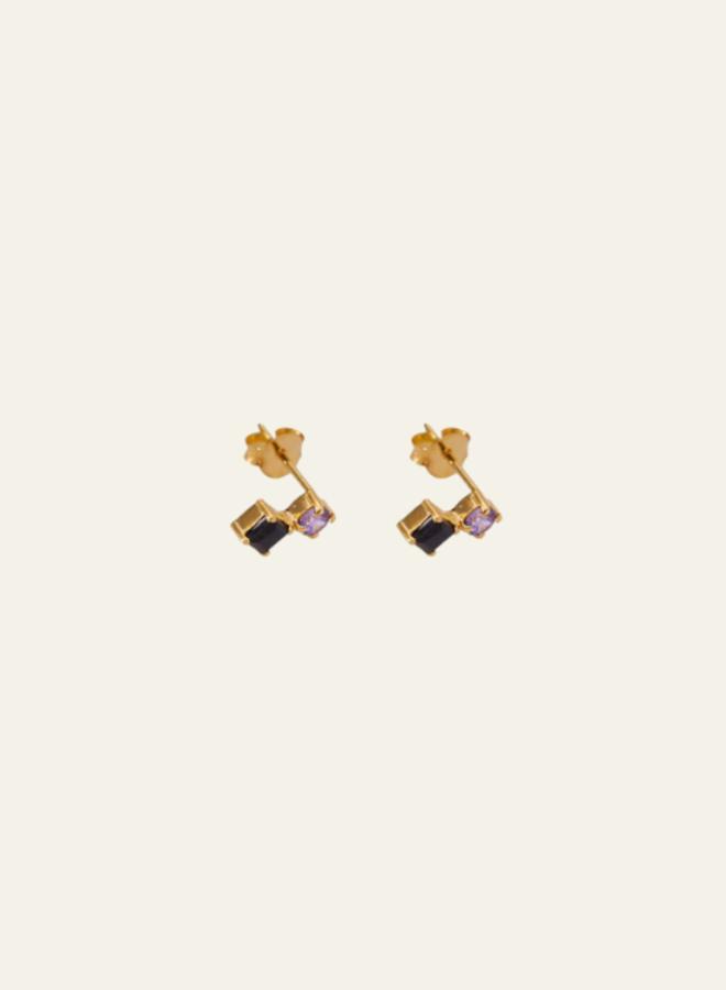 Xzota Earring Tiny Black/Purple Stud