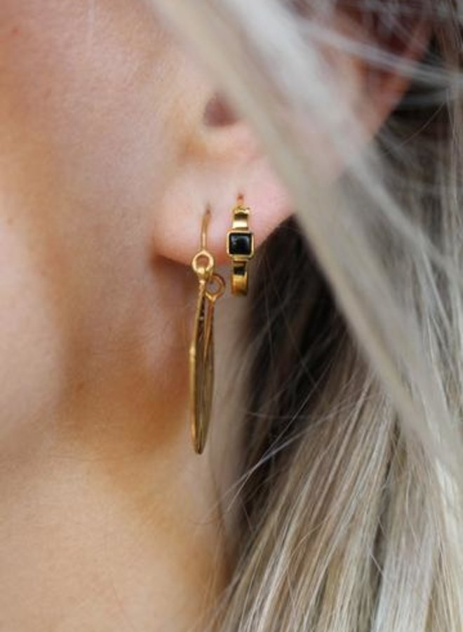 Xzota Earring Hoop square onyx