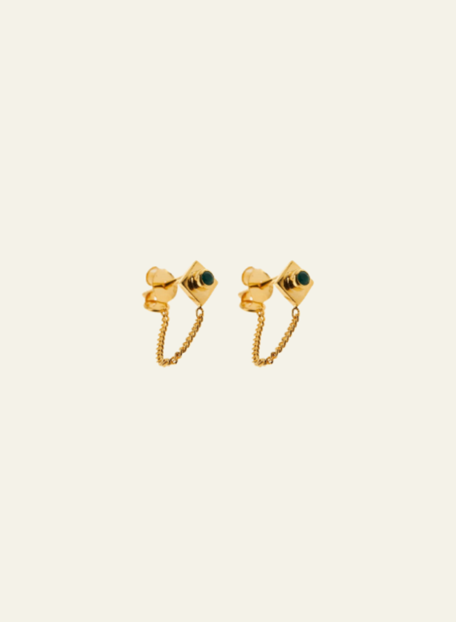 Xzota Earring Chain Green Stone