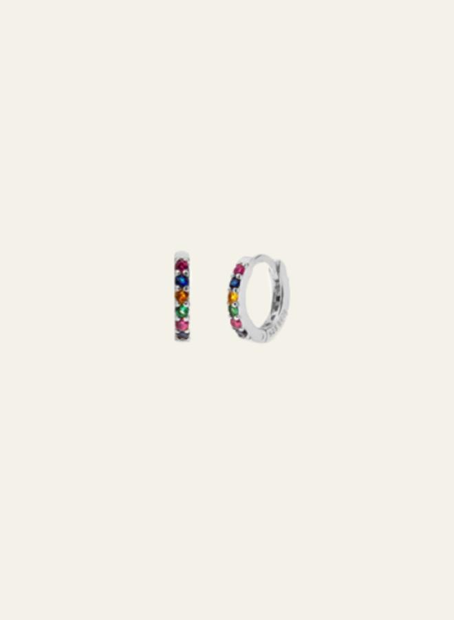 Aleyolé Single Earring Mini Bali Multicolor Silver