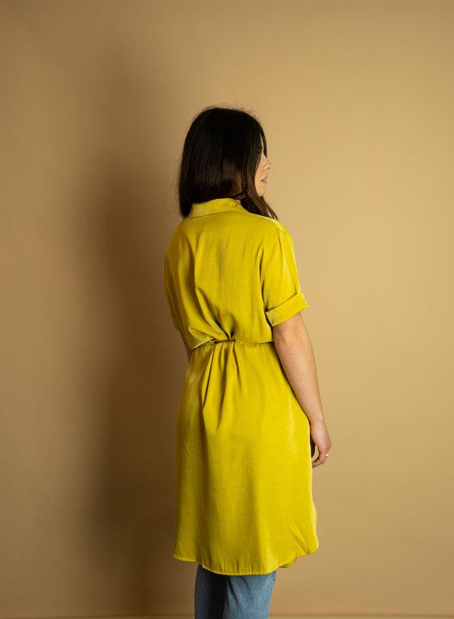Make My Day Satin Shirt Dress