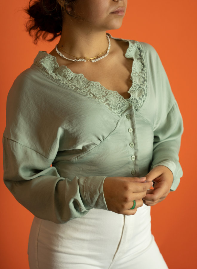 Make My Day Cropped Blouse Lace