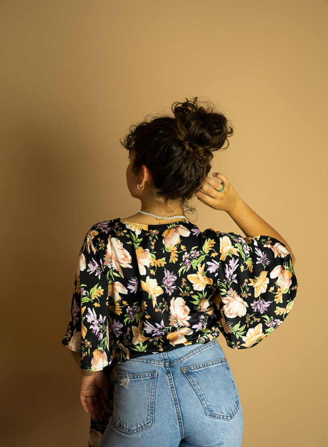 Make My Day Wrap Blouse Flower
