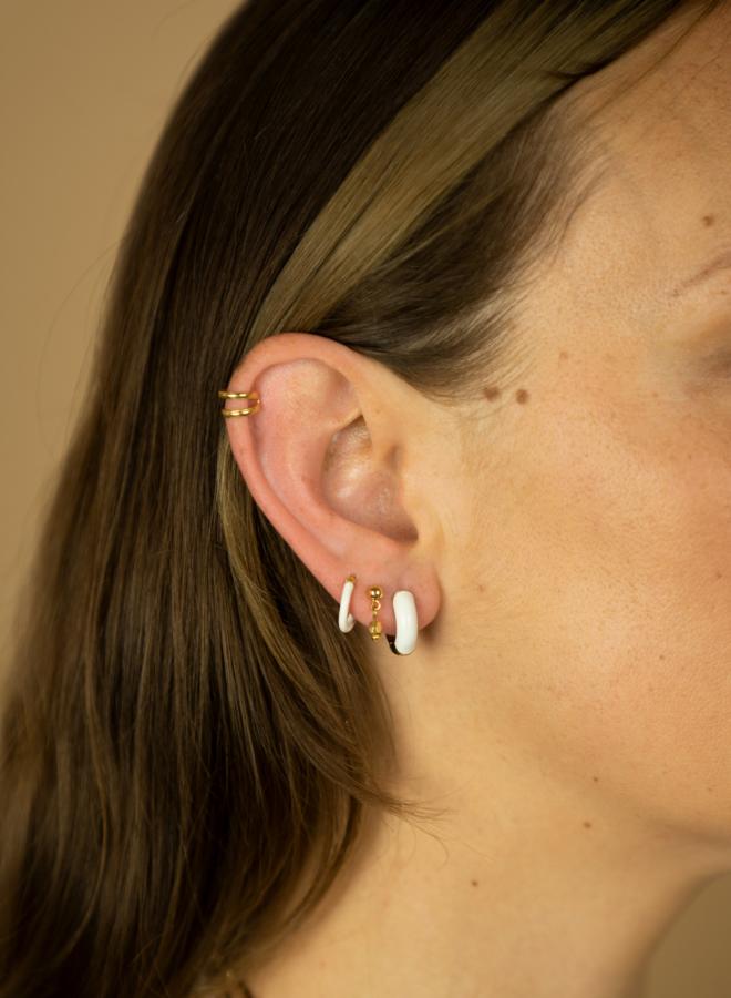 Anna + Nina Enamel white Earring