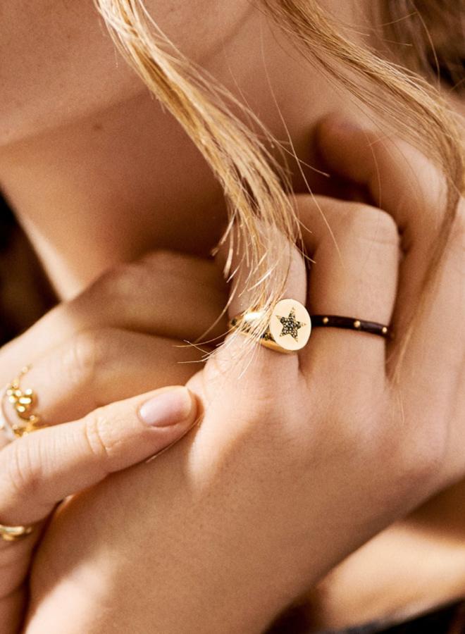 Anna Nina Dolly Ring Brown Gold