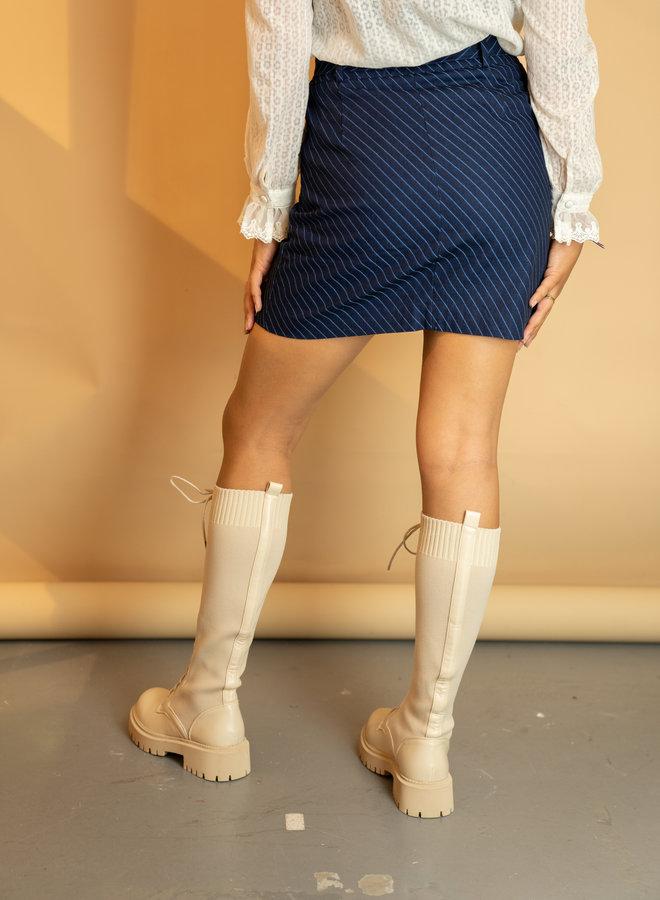Make My Day Striped Denim Set Skirt