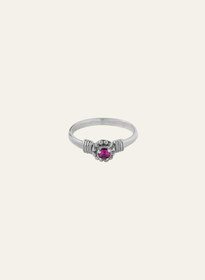 Xzota Purple Flower Ring Silver