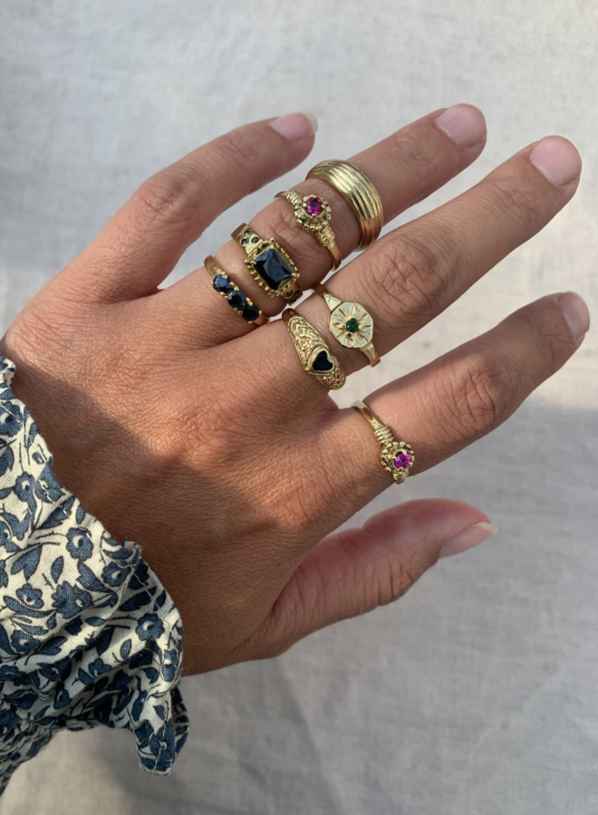 Xzota Purple Flower Ring Brass