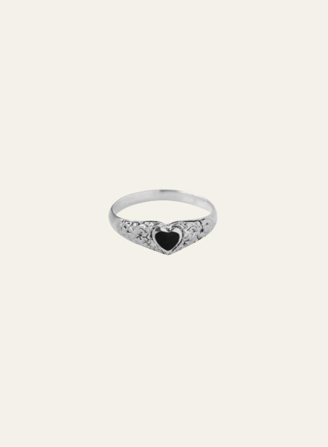 Xzota Onyx Heart Ring Silver