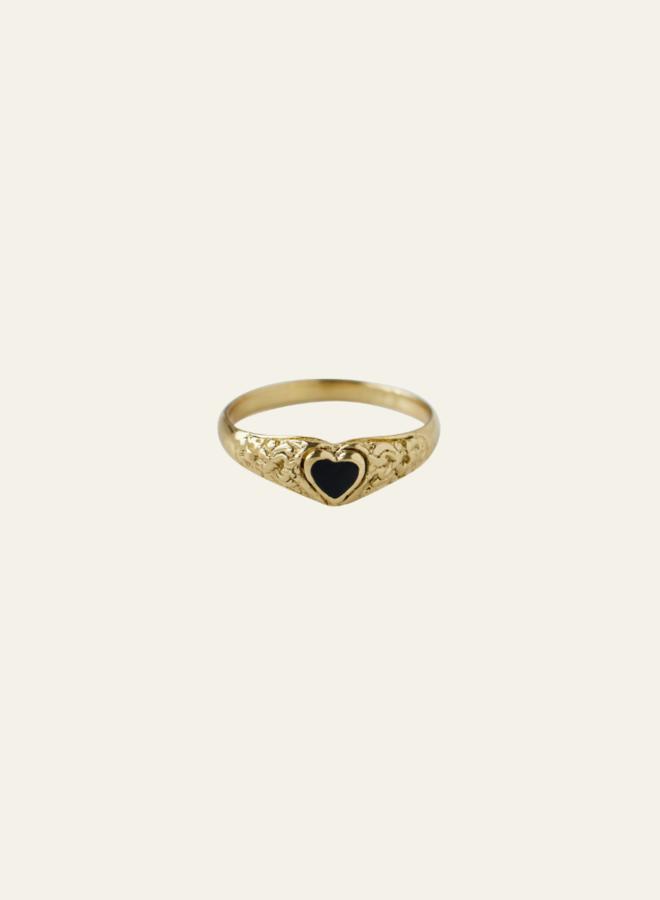 Xzota Onyx Heart Ring Brass