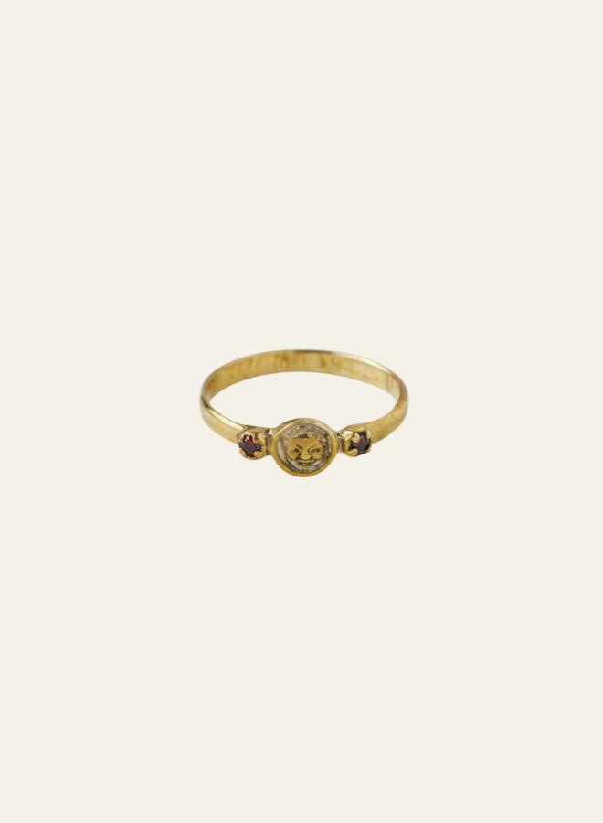 Xzota Happy Face Ring Brass