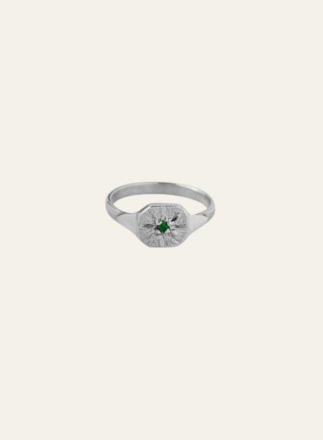 Xzota Green Flower Ring Silver