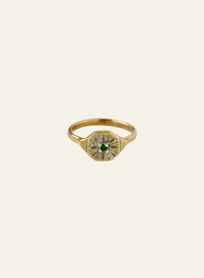 Xzota Green Flower Ring Brass