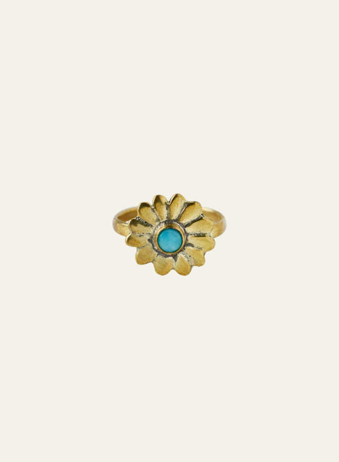 Xzota Daisy Flower Ring Brass