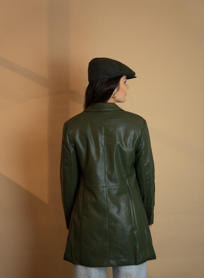 Make My Day Long PU Blazer Jacket