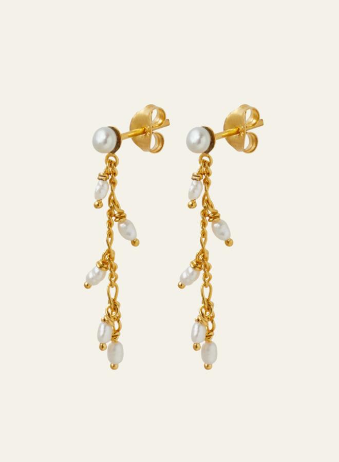 Xzota Chain Pearl Drop Earring Gold Plated