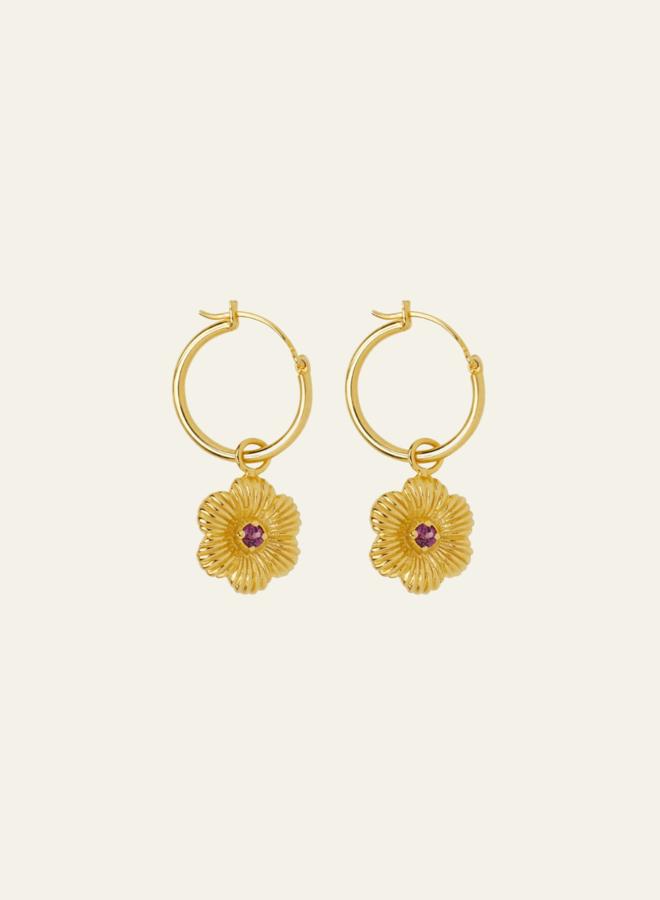 Xzota Pink Flower Hoop Earring Gold Plated