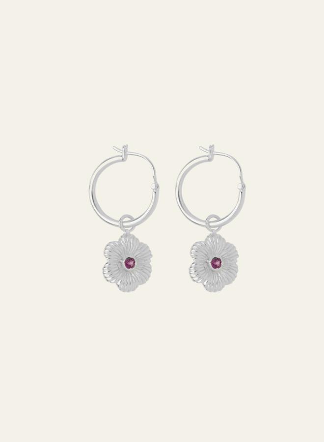 Xzota Pink Flower Hoop Earring Silver