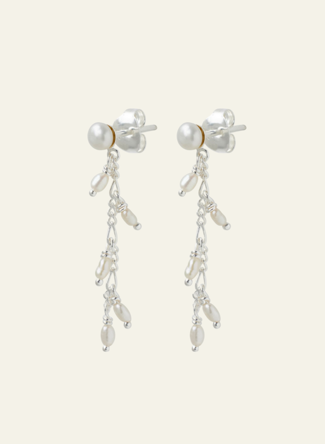 Xzota Chain Pearl Drop Earring Silver
