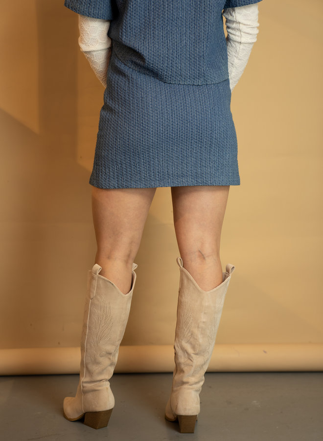 Make My Day Textured Denim Set Skirt
