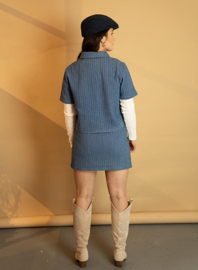 Make My Day Textured Denim Set Jacket