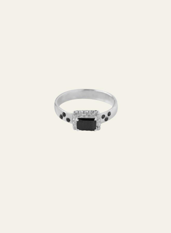 Xzota Tiny Dots Black Ring Silver