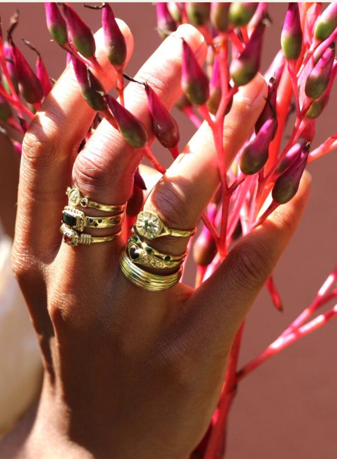 Xzota Tiny Dots Black Ring Brass
